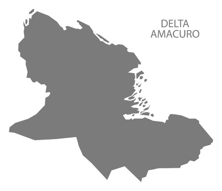 delta: Delta Amacuro Venezuela Map in grey