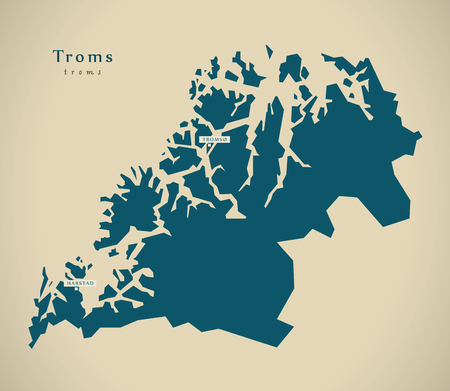 counties: Modern Map - Troms Norway NO illustration Stock Photo