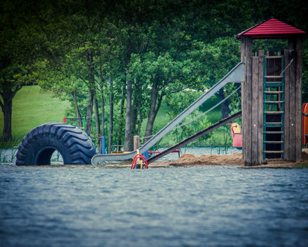 deluge: Floodwaters on kids playground
