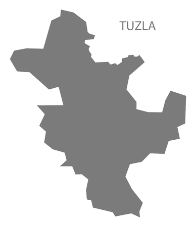 Tuzla Bosnia and Herzegovina Map in grey Illustration