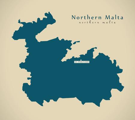 malta map: Modern Map - Northern Malta MT illustration