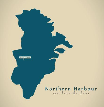 malta cities: Modern Map - Northern Harbour Malta MT illustration