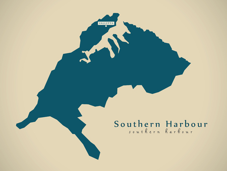 Modern Map - Southern Harbour MT illustration Stock Photo