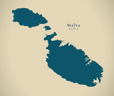 regional: Modern Map - Malta MT illustration Stock Photo