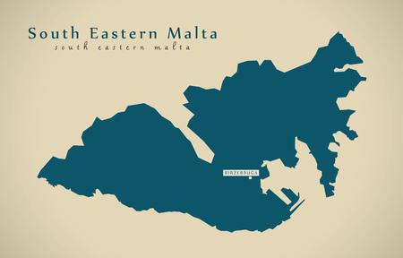 regional: Modern Map - Eastern Malta MT illustration Stock Photo