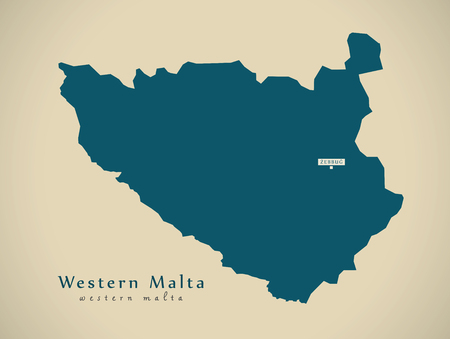 malta map: Modern Map - Western Malta MT illustration