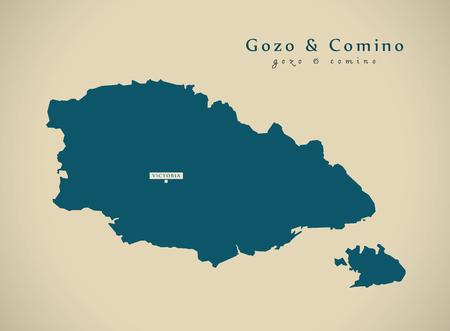 malta map: Modern Map - Gozo and Comino Malta MT illustration Stock Photo