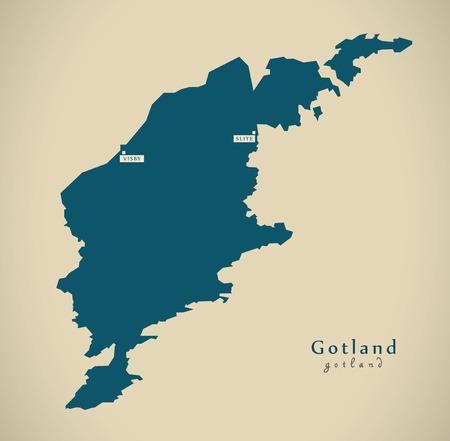 Modern Map - Gotland Sweden SE illustration