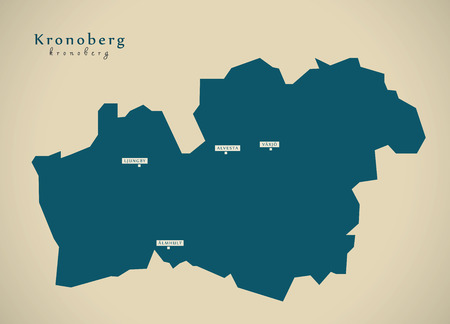 Moderne kaart - Kronoberg Zweden SE illustratie Stockfoto