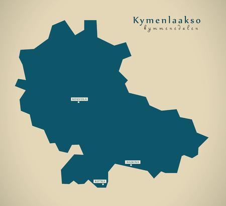 suomi: Modern Map - Kymenlaakso Finland FI illustration Stock Photo