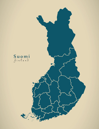 suomi: Modern Map - Finland with federal states FI illustration
