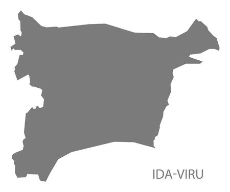 Ida-Viru Estonia Map in grey Ilustração