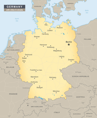 Germany map overview with streets and cities including neighbour states illustration