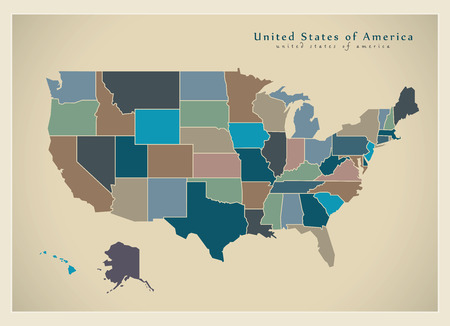 Modern Map - USA with coloured federal states illustration silhouette