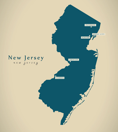 jersey city: Modern Map - New Jersey USA federal state illustration silhouette Stock Photo