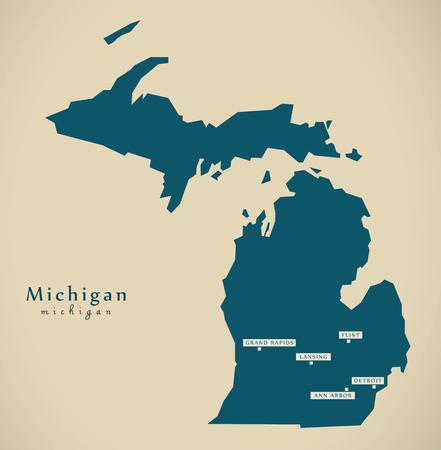 Modern Map - Michigan USA Federal State Illustration Silhouette ...