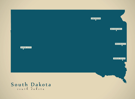 Modern Map - South Dakota USA federal state illustration silhouette