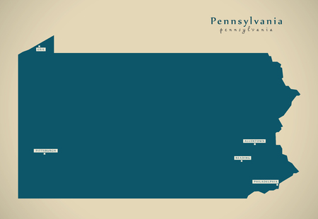 Modern Map - Pennsylvania USA federal state illustration silhouette