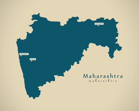 Modern Map - Maharashtra IN India federal state illustration silhouette