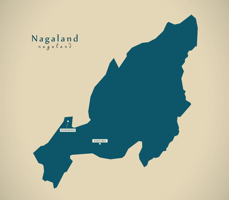 Modern Map - Nagaland IN India federal state illustration silhouette