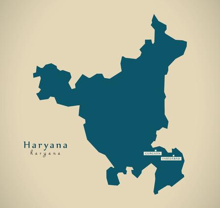 haryana: Modern Map - Haryana IN India federal state illustration silhouette