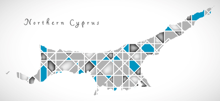 Northern Cyprus Map crystal diamond style artwork illustration