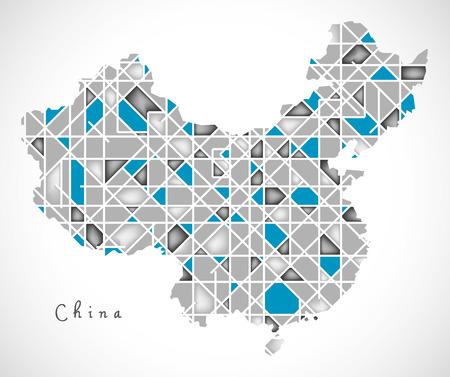 China Kaart kristal diamant stijl kunstwerk illustratie