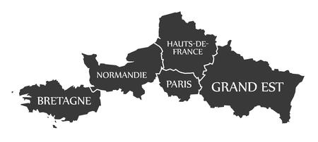 bretagne: Bretagne - Normandie - Paris - Hauts-de-France - Grand Est Map France illustration