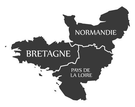 Bretagne - Normandie - Pays de la Loire Map France illustration