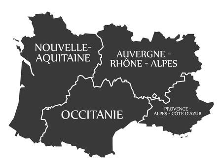 Nouvelle - Aquitaine - Occitanie - Auvergne - Provence Carte France illustration