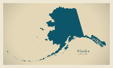 Modern Map - Alaska map USA illustration silhouette refreshed design