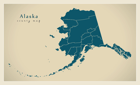 Modern Map - Alaska county map USA silhouette illustration Vettoriali