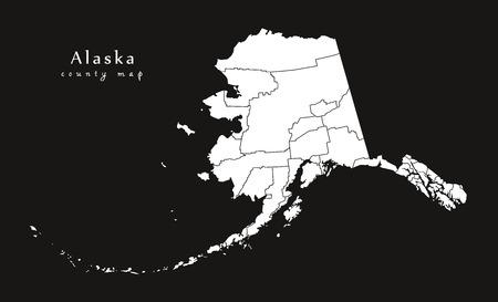 Moderne kaart - Alaska zwarte kaart VS silhouet illustratie Stock Illustratie