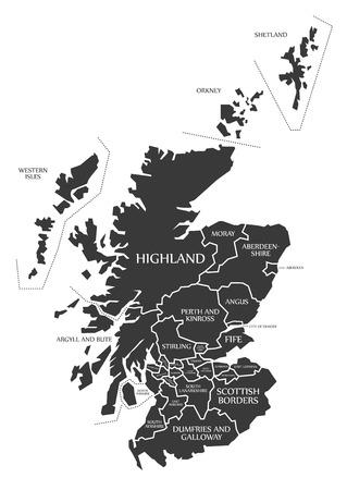 Escocia mapa etiquetado ilustración negro