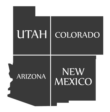 ユタ州 - コロラド州 - アリゾナ州 - 新しいメキシコ地図黒イラストをラベル