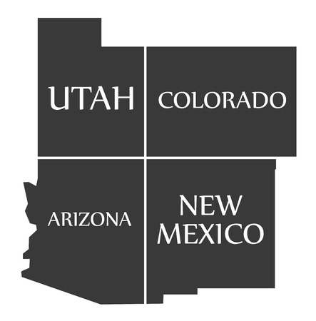 Utah - Colorado - Arizona - New Mexico Map labelled black illustration