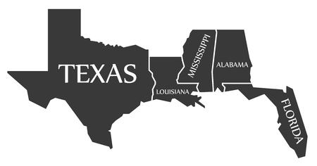 Texas - Louisiana - Mississippi - Alabama - Florida Map met label zwarte illustratie Stock Illustratie
