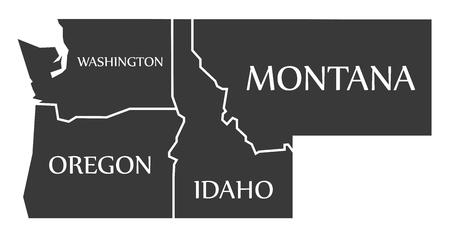 ワシントン州 - オレゴン州 - アイダホ州 - モンタナ マップ黒イラストをラベル  イラスト・ベクター素材