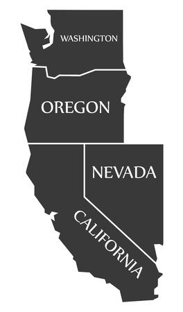 ワシントン州 - オレゴン州 - ネバダ州 - カリフォルニア州地図黒イラストをラベル