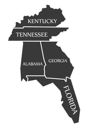 Kentucky - Tennessee - Alabama - Georgia - Florida Map labelled black illustration