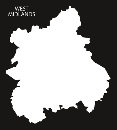 england map: West Midlands England Map black inverted silhouette