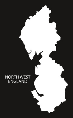england map: North West England Map black inverted silhouette