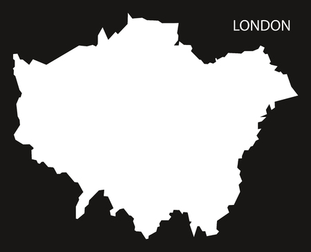 london   england: London England Map black inverted silhouette