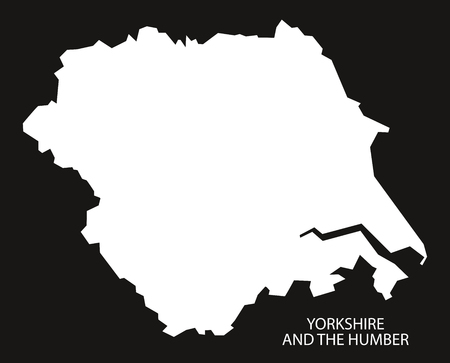 yorkshire and humber: Yorkshire and the Humber England Map black inverted silhouette