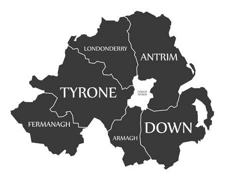 ireland cities: Northern Ireland Map labelled black illustration