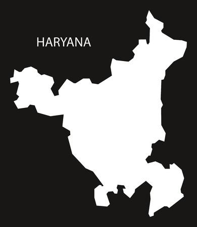 haryana: Haryana India Map black inverted silhouette Illustration