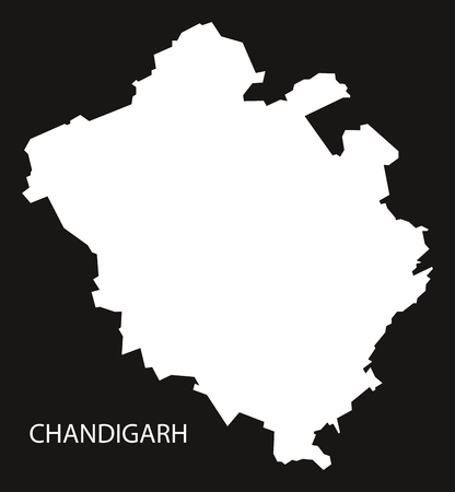 inverted: Chandigarh India Map black inverted silhouette Illustration