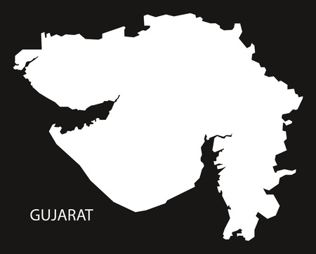 inverted: Gujarat India Map black inverted silhouette Illustration