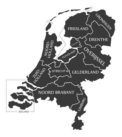 Netherlands Map labelled black illustration