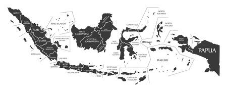 Indonesia Map labelled black illustration Vettoriali